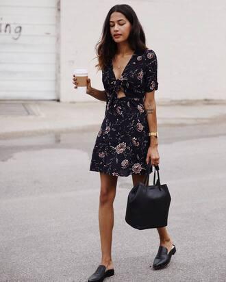 dress tumblr mini dress floral floral dress bag black bag shoes mules cut-out
