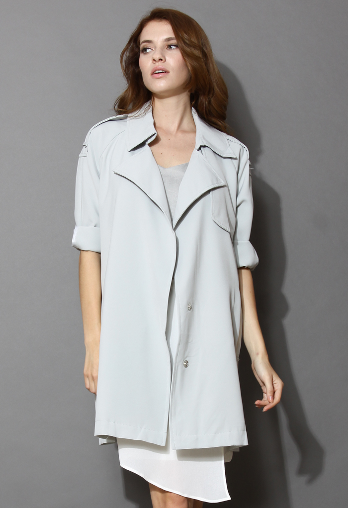 Simplicity Oversized Grey Trench Coat - Retro, Indie and Unique Fashion