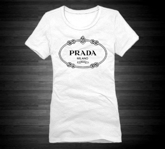 Prada Crew Tshirt For Women In White With by FashionCoutureCo