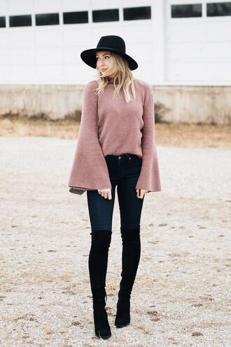 sweater black hat bell sleeve sweater skinny jeans over knee boots date outfit blogger
