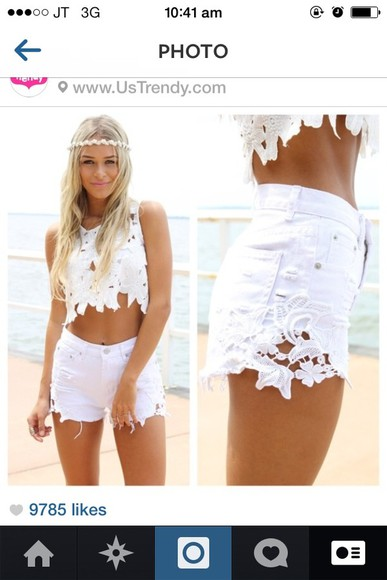 shorts white lace