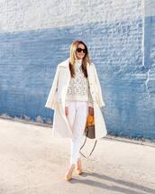 sweater,white sweater,lace,turtleneck,white jeans,skinny pants,coat,pumps,handbag,sunglasses