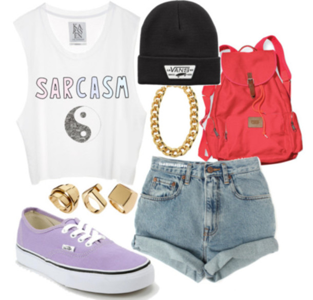 blouse pink vans purple blackand white spring casual everyday outfit jewels outfit t-shirt shirt white cute tumblr black backpack shorts