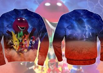sweater power rangers rainbow barney fight battle sweatshirt 3d sweatshirts printed sweater style