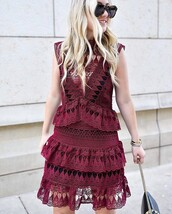 dress,tumblr,red dress,burgundy,burgundy dress,mini dress,ruffle dress,ruffle,see through,mesh,mesh dress,sleeveless,sleeveless dress,sunglasses,tortoise shell sunglasses,tortoise shell
