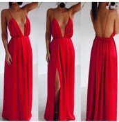 dress,pleated,maxi dress,red,backless