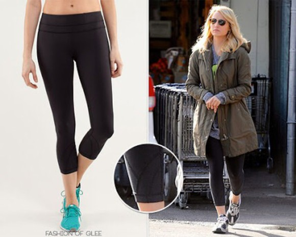 glee dianna agron quinn fabray training sportswear workout leggings
