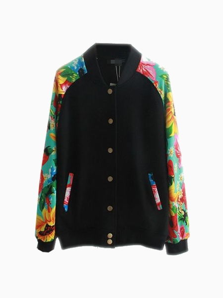Cool Bomber Jacket With Floral Sleeves (Women Or Men) | Choies