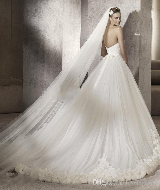 Ball Gowns Wedding Dresses Hand Made Flowers White Tulle Dresses Sweetheart Neck Cheap Bridal Gown Custom Made Modern Wedding Gowns Long Sleeve Dresses Plus Size Wedding Dresses From Lovemydress, $160.77| Dhgate.Com