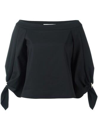 blouse women spandex cotton black top