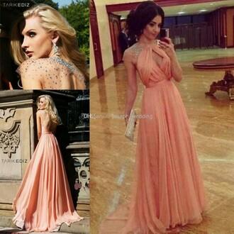 blush dress sparkle clear sleves sweat heart neckline long prom dress halter straps dress