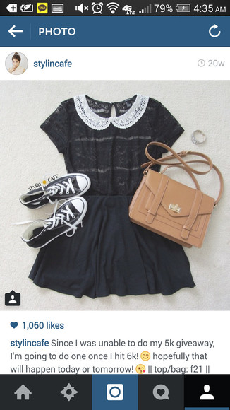 peter pan collar blouse black blouse laced collar bag