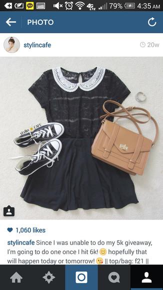 blouse black blouse peter pan collar laced collar bag