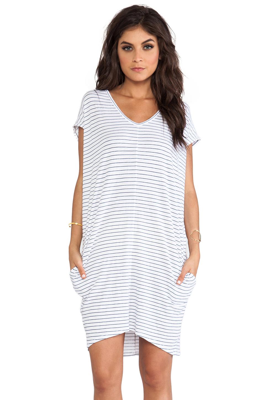 SUNDRY Pocket Tunic V Dress in White Stripe | REVOLVE