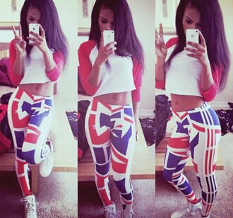 iphone leggings red blue white white shoes crop tops beautiful girl swag long hair nice body peace blouse