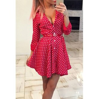 dress cute girly fashion style summer polka dots feminine long sleeves red