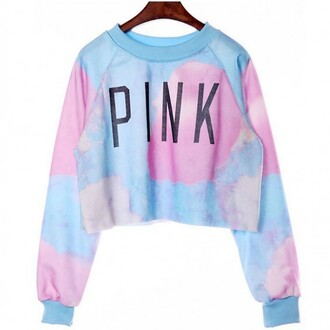 sweater pink blue cropped long sleeves teenagers pastel fashion style trendy cute boogzel