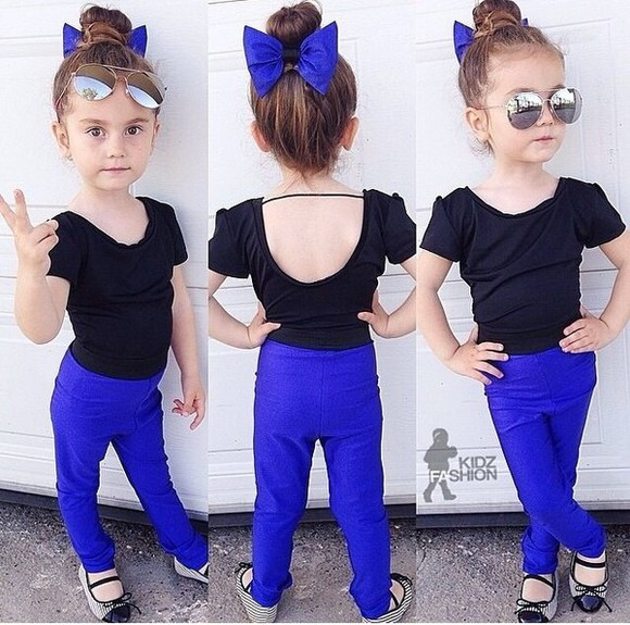 girls kids fashion sunglasses blouse hair bow bows low back shirt aviator sunglasses