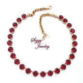 jewels,siggy jewelry,necklace,gift ideas,sparkle,elegant,beauty shopping,scarlet,wedding gifts,wedding jewelry,beautiful,swarovski,red,bling,statement necklace,siam,style,fashion,trendy,etsy,mothers day gift idea,ruby