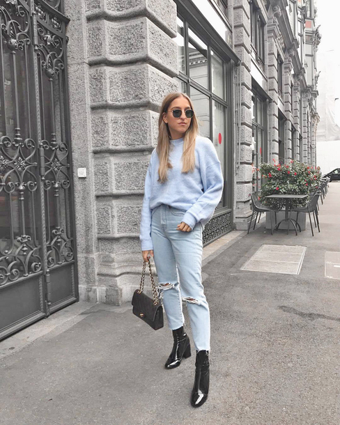sweater tumblr blue sweater knit knitwear knitted sweater denim jeans blue jeans ripped jeans cropped jeans boots black boots bag sunglasses