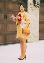 life & messy hair,blogger,dress,sunglasses,shoes,jewels,bag,shoulder bag,yellow bag,yellow dress,pumps,fall outfits