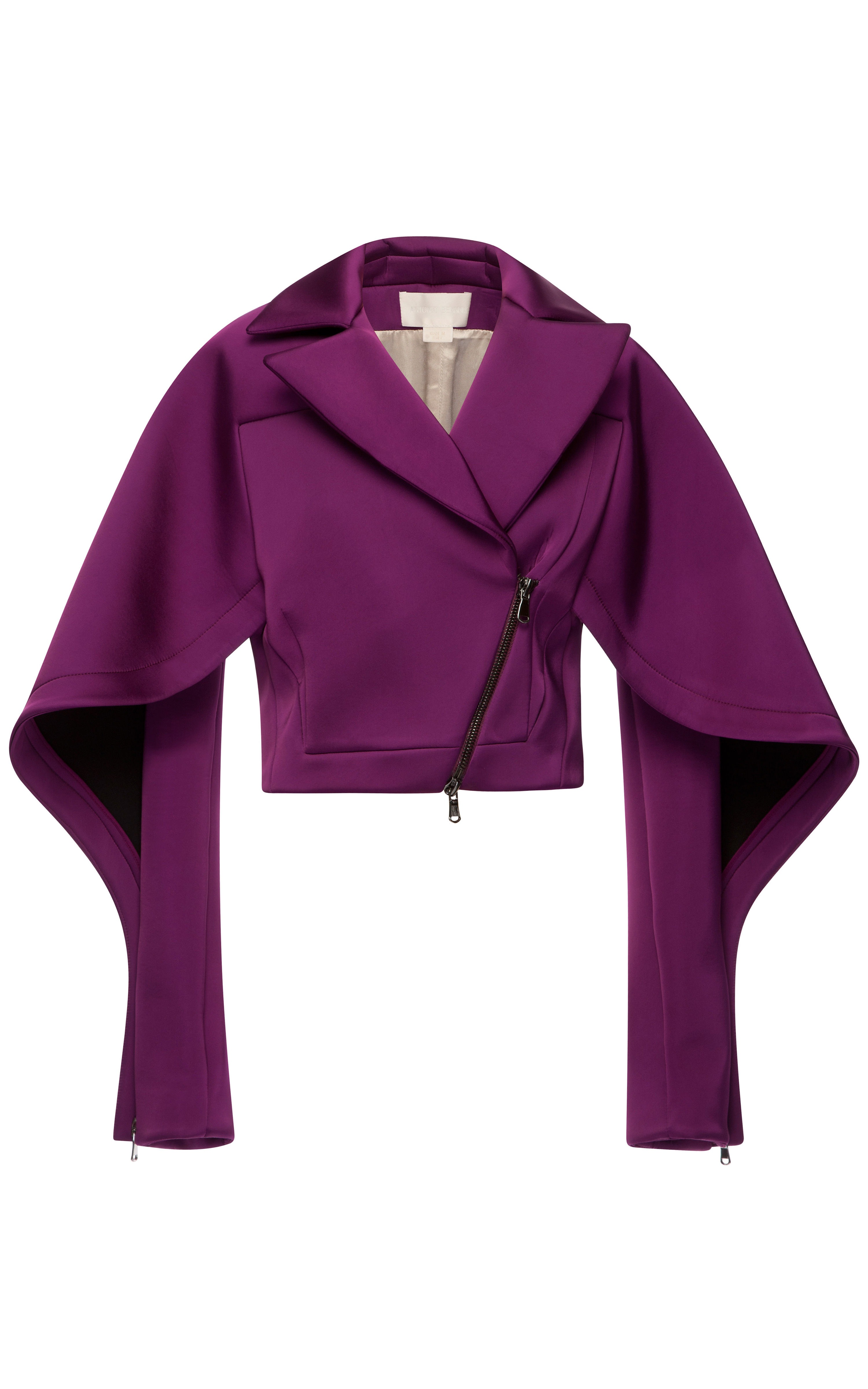 Raspberry silk scuba short jacket by antonio berardi