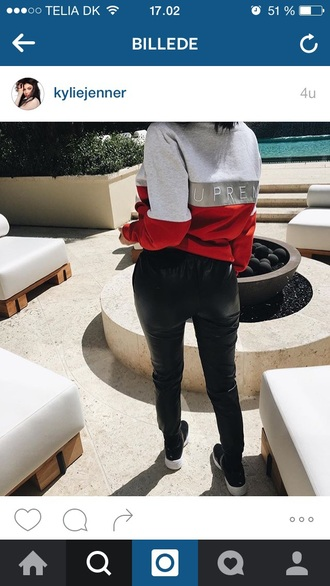 sweater kylie jenner supreme fashion outfit shirt t-shirt sweatshirt supreme sweater kendall and kylie jenner swagg t shirt