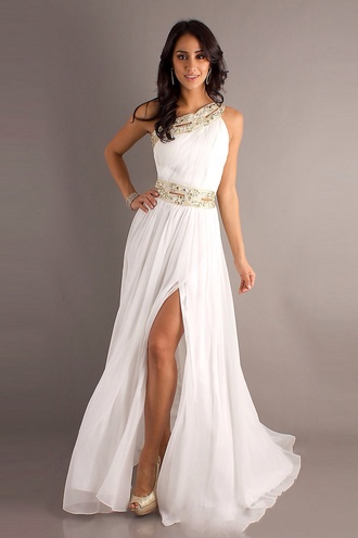 dress prom dress white dress gold greek goddess one shoulder white long prom dress gold slit athena long prom dress fashion cute dress style bari jay grecian dress