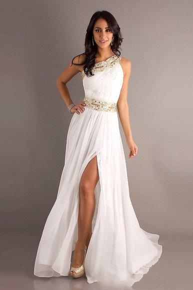 dress white dress gold greek goddess one shoulder prom dress