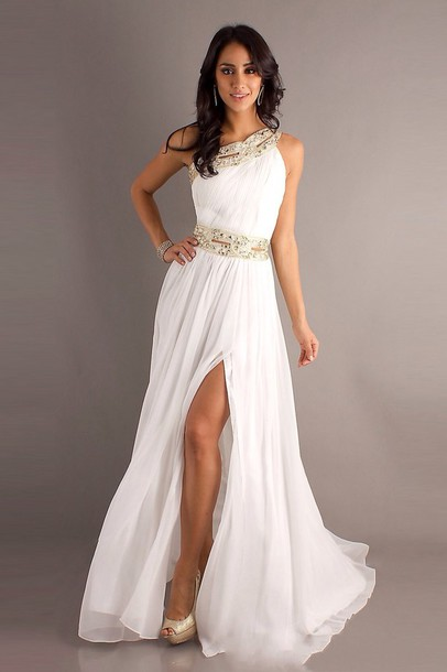 dress prom dress white dress gold greek goddess one shoulder white ...