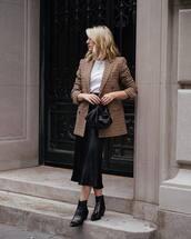 bag,handbag,black bag,ankle boots,midi skirt,satin,check blazer,white blouse
