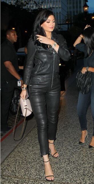 jumpsuit leather leather pants kylie jenner sandals shoes black leather
