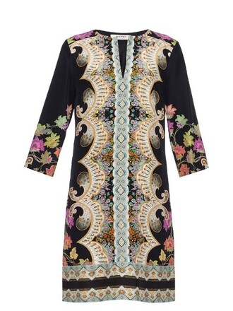 dress tunic dress print silk paisley black