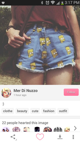 shorts thesimpsons bart simpson high waisted shorts barthead white dress yellowhead yellow the simpsons