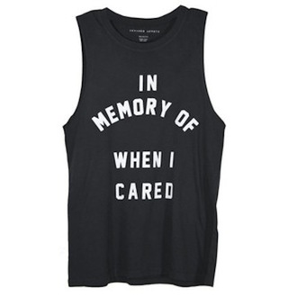 t-shirt black black shirt black and white white in memory tee casual simple printed tee in memory of when i cared muscle black