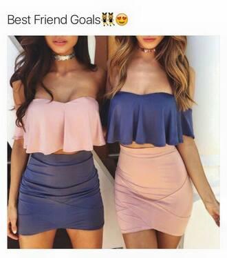 skirt top short skirt blue skirt pink skirt blue top pink top two piece dress set two-piece