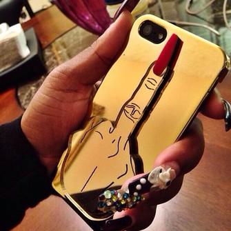 jewels gold bag iphone 5 case phone case phone case middle finger up iphone case the middle