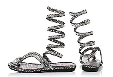 Amazon.com | LOVEBEAUTY Women's Sexy Snake Rhinestone Gladiator Sandals | Flats