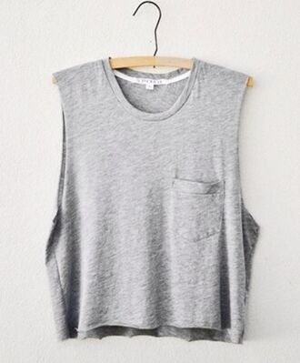 shirt t-shirt tumblr grey muscle tee cut offs cut off sleeves to get pocket t-shirt basic tank top casual comfy clothes hipster solid color gray shirt crop tops pockets grey top grey tank top muscle tank tops need  want love
