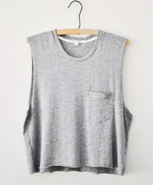 shirt t-shirt tumblr grey muscle tee muscle tee cut offs cut off sleeves to get pocket t-shirt t-shirt basic tank top casual comfy clothes hipster solid color gray shirt crop tops pocket t-shirt pockets grey top grey tank top muscle tank tops need  want love