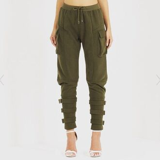 pants maniere de voir khaki jog sweat joggers detail track buckle utility tapered green