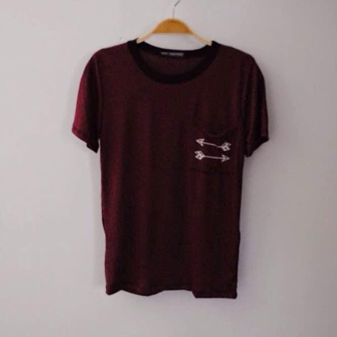 Arrow Love Pocket Striped T-Shirt (Red/Black) | ootdfash