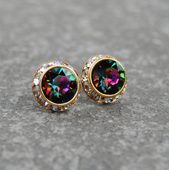 Rainbow Clear Crystal Diamond Earrings Swarovski by MASHUGANA