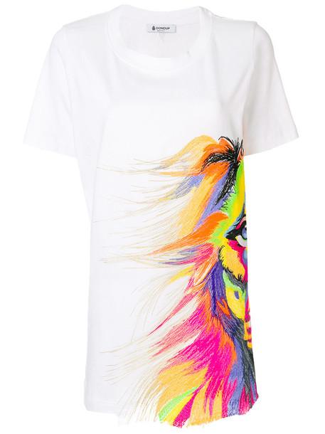 Dondup - printed short sleeved T-shirt - women - Cotton - L, White, Cotton