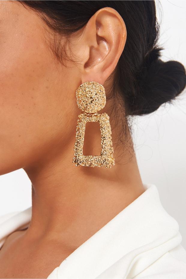Geo Gold Statement Earrings