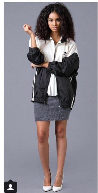 jacket adidas vintage bomber jacket black white