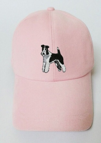hat embroidered dog tumblr velvet cap pastel pink pastel pink pink cap