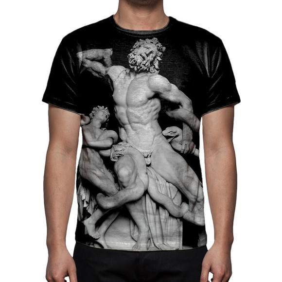 shirt print black t-shirt statue laocoon snake greek graphic tee antique art