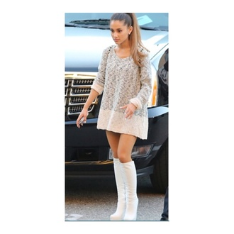 ariana grande boots oversized oversized sweater white boot ponytail bag shoes sweater