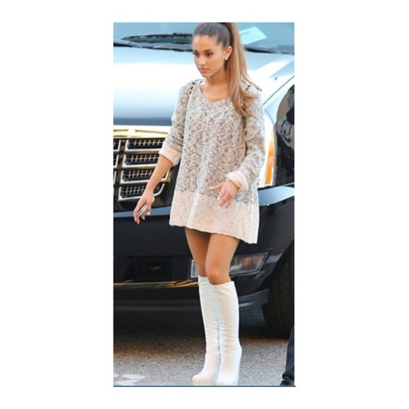 oversized sweater shoes oversized boots bag ariana grande white boot pony tail